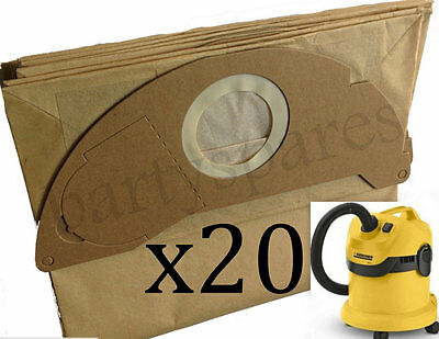 20 x Strong Dust Bags for Karcher WD2.200 WD3.500 MV2 IPX4 Vacuum Cleaner Hoover
