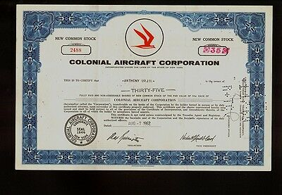 Colonial Aicraft Corporation New York - Skimmer Flying Boat Makers - old stock