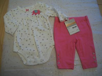 Carter's Baby Girls 2 Piece Pant Set Heart Print Nwt Pink Grey White Elephant