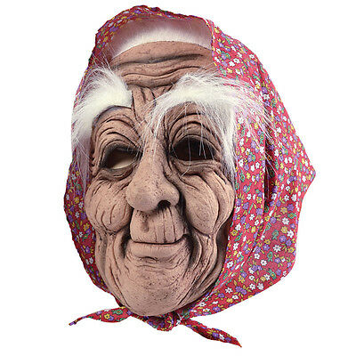 Old Woman Rubber Mask With Headscarf Adult Fancy Dress