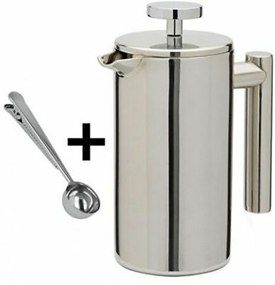 stainless steel double wall cafetiere filter coffee tea maker plunger cappuccino. Black Bedroom Furniture Sets. Home Design Ideas