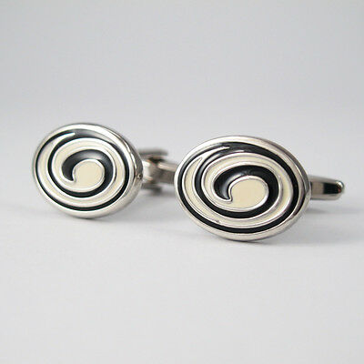 Silver Black Cream Stainless Steel Oval Spiral Mens Cufflinks NEW FREE GIFT BOX