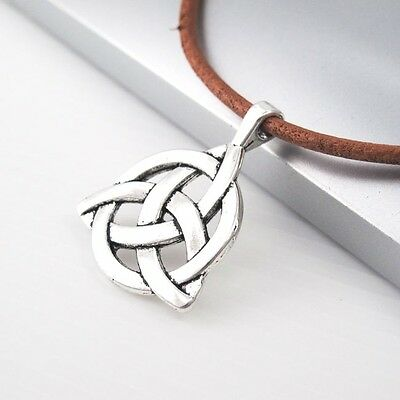Vintage Silver Alloy Triangle Trinity Knot Celtic Pendant Brown Leather Necklace