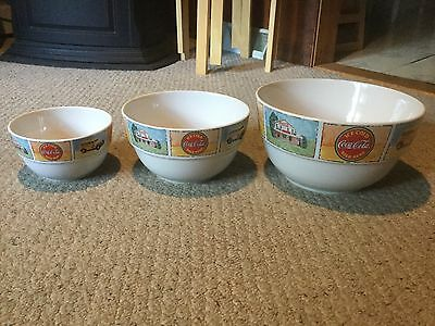 Gibson Coca-Cola 3 Piece Nesting Mixing Bowl Set - White Ceramic.  Beautiful!
