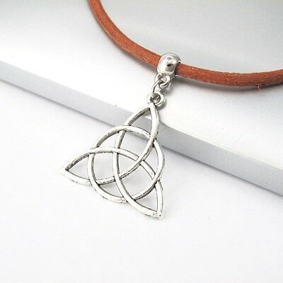 Vintage Silver Alloy Trinity Knot Celtic Pendant Brown Leather Tribal Necklace