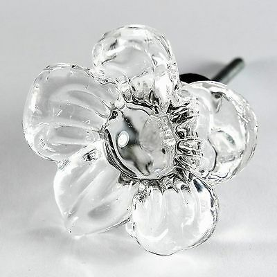 Flower Drawer Knob Jewelry Box Drawer Pull Glass Furniture Knobs #T37