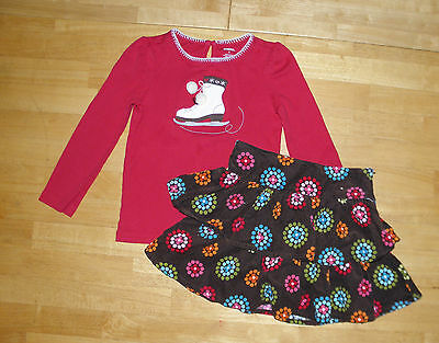 Gymboree Winter Cheer Brown Corduroy Tiered Skirt Red Top Girls 4 Fall Winter