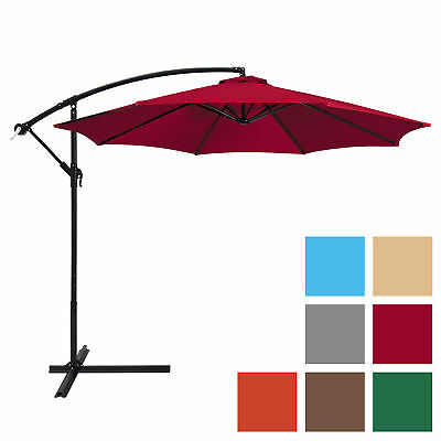 Best Choice Products 10ft Offset Hanging Outdoor Market Patio Umbrella Burgundy