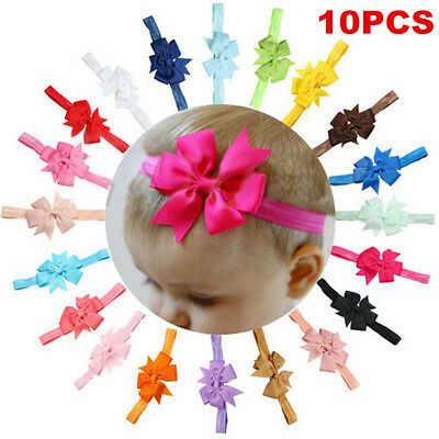 10PCS Kids Girl Baby Toddler Bow Flower Headband Hair Band Accessories Headwear