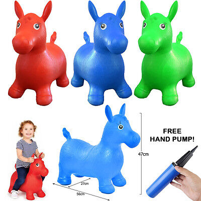Kids Ride On Bouncy Horse Animal Space Hopper Inflatable Play + Hand Pump Set