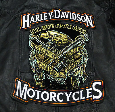 Harley 12 Inch Top Bottom Rocker With  Eagle Guns 2Nd Amendment 3Pc Back Patch