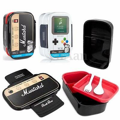 Game Boy Console Speaker Double Layer Lunch Box Bento Food Container +Fork Spoon