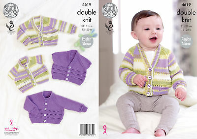 Baby Raglan Sleeve Lace Cardigans Double Knitting Pattern King Cole DK 4619