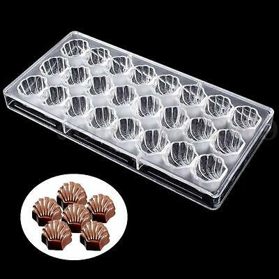 3D Sea Shell Shaped Polycarbonate Clear Chocolate Mold Candy Mould PC Cube Tray