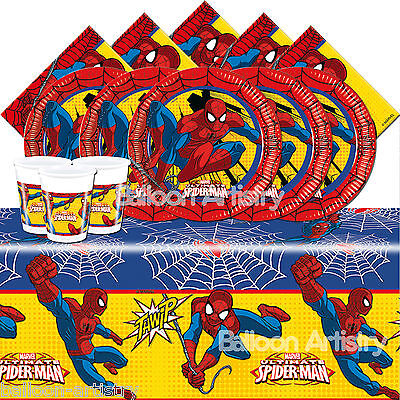 Marvel Ultimate Spider-Man Children's Birthday Party Tableware Pack Kit for 16