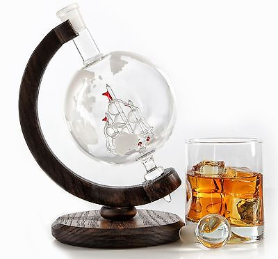 Etched Globe Whiskey Decanter - 1000ml Glass Bourbon Decanter for Scotch Rum ...