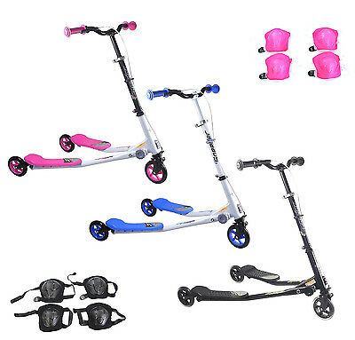 Kids Large Speeder Slider Foldable Push Drifter Scooter Three Wheels 3 Small Tri