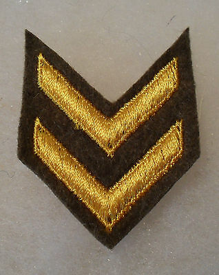 Wwi Gold Emb On Brown Wool Overseas And Wound Chevrons  (2) 1930's/40/s Use