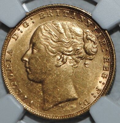 1873 M Australia Gold Sovereign NGC AU58 Melbourne Coin St George Young Head