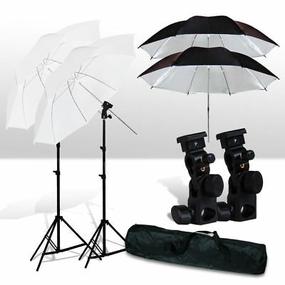 Photo Studio Umbrella Flash Mount Set Light Stand Kit For Nikon Canon Speedlite