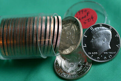 1990 S Clad Proof KENNEDY Half Dollar Roll 20 Coins 50c from US Proof Sets
