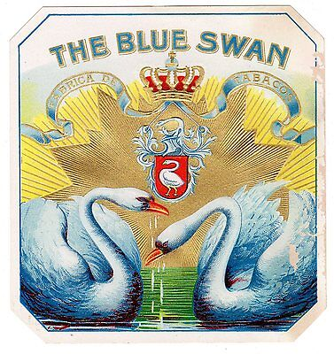 Cigar Box Label Vintage Outer Chromolithography Blue Swan Embossed Bronzed C1910