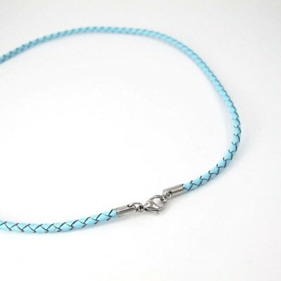"""13"""" 14"""" Braided Baby Blue Girls Leather Necklace Silver Stainless Lobster Clasp"""