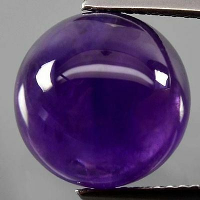 A PAIR OF 7mm ROUND CABOCHON-CUT NATURAL AFRICAN AMETHYST GEMSTONES