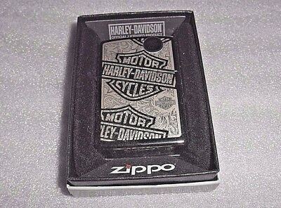 *new* Zippo Lighter 2015 H-15 Black Chrome Harley Davidson With Box & Seal #160