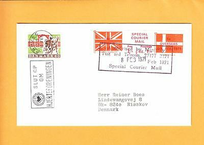 Great Britain Strike Mail Special Courier Label Scandinavia Denmark Cover z34