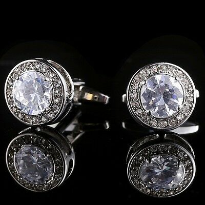 White Round Crystal Silver Men Wedding Party Gift Shirt Cuff Links Cufflinks A35