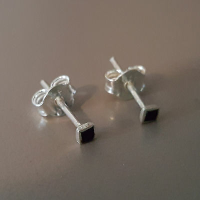 Silver Stud Earring Tiny Black Square Unisex Jewelry Sterling 925 (HE026)