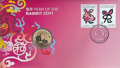 2011 Christmas Island Australia, Lunar Year of the Rabbit, PNC $1 Unc