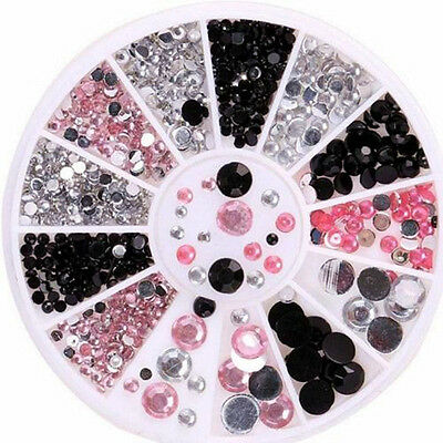 3 Colors 3D Nail Art Tips gems Crystal Glitter Rhinestone DIY Decoration + Wheel