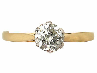 Vintage 0.79ct Diamond and 18k Yellow Gold Solitaire Engagement Ring - 1989