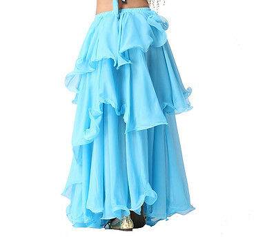 New Dancing Costume Belly Dance Costume 3 layers Circle Spiral Skirt Lake Blue