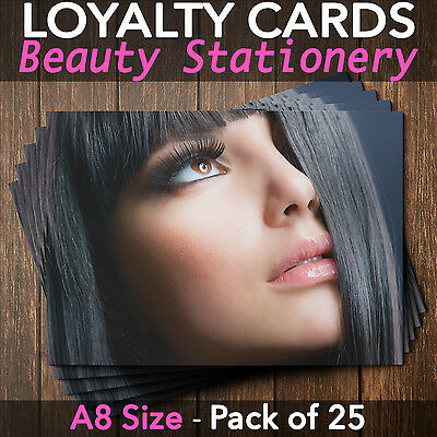 Loyalty Cards - Pack of 25 - Hairdressers / Beauty Salons / Spa, A8 mini