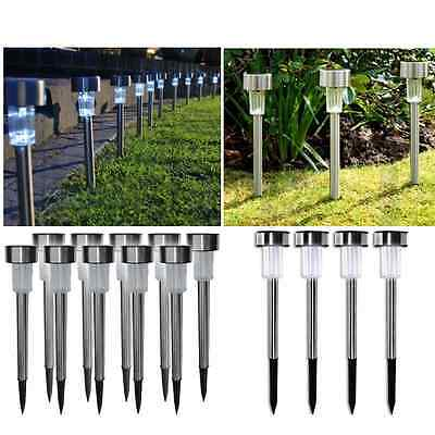 12 X Solar Lights Post Garden Patio Outdoor Led Lighting Stainless Steel Powered