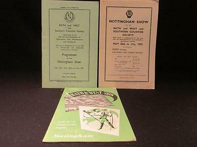 Bath & West  Show Southern Counties & Nottingham 1952 Map & 2 Programmes