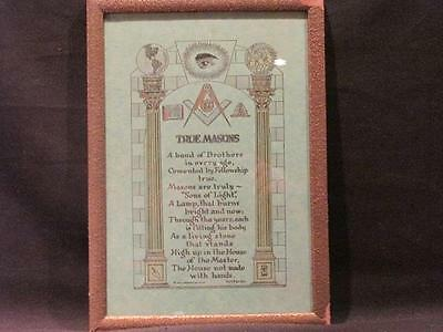 True Masons by HH Fariss John Drescher Co Band of Brothers Vintage Framed Plaque
