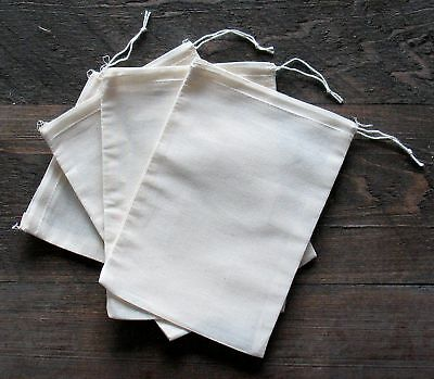 25 (5x7) Cotton Muslin Drawstring Bags Bath Soap Herbs