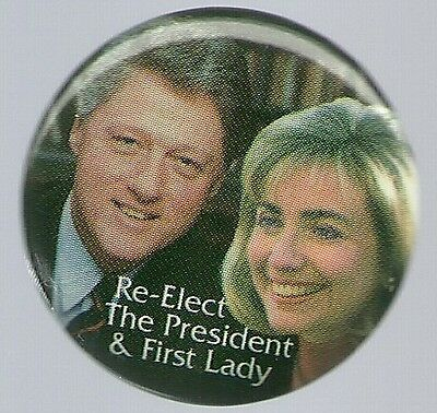 Collector Size, Bill And Hillary Clinton 1996 Color Pin