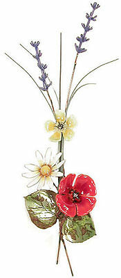 Poppy Flower with Lavender Metal Wall Art Sculpture by Bovano of Cheshire #F66