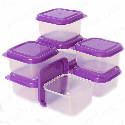 16 x CLEAR PLASTIC MINI STORAGE BOXES SET Small Food Freezer Leftover Container