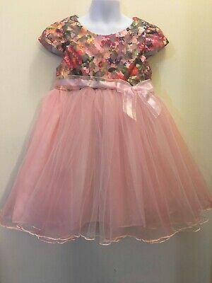 a1e56b2e4 Bonnie Jean Girls Pink Print Bonaz Layer Tulle Pageant Party Dress 12M 18M  24M