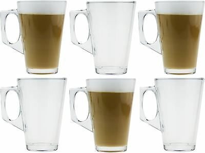 6 Pack Latte Glass Tea Coffee Café Cappuccino Hot Drinking Cup 240ml