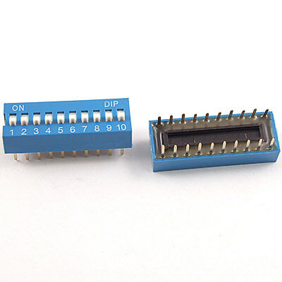 10 Pieces 2.54mm Pitch 10 Position Slide Type DIP Switch Blue