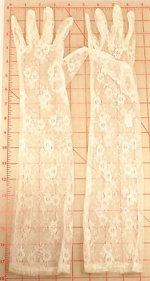 """1 pair off white ivory floral lace gloves flower design 18"""" elbow length s small"""