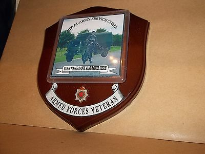 Royal Army Service Corps RASC Veteran Wall Plaque personalised.