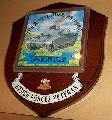 The Royal Hussars(PWO) Veteran Wall Plaque personalised.